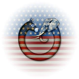 Political Party Animals. Digital and photo illustration of a donkey and elephant, representing democrats and republicans confronting each other Royalty Free Stock Photos