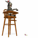 Political Party - Tantrum 1. Political Party - Donkey in a highchair. Throwing a tantrum over a dropped pacifier Stock Illustration
