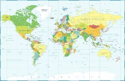 Political Colored World Map Vector. Political Physical Topographic Colored World Map Vector illustration Stock Photo