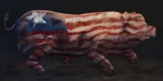 Political Pig - Digital Painting. Digital painting of a dirty pig painted with a star and stripes design Stock Photo