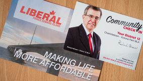 Political platform and community check in from Richard Brown, PEI Liberal Party for the provincial election. Political platform and community check in from stock image