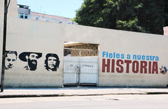 Political propaganda advertisement. One of many political propaganda advertisement in Havana, Cuba with the paintings of the revolution leaders,Antonio Mella stock image