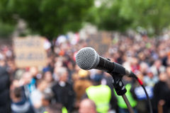 Political protest. Public demonstration. Microphone. Royalty Free Stock Photos