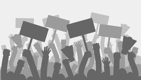 Political protest with silhouette protesters hands holding megaphone, banners and flags. Strike, revolution, conflict. Vector background. Illustration strike royalty free illustration
