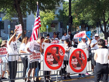 Donald Trump Political Protesters. Protesters outside of the America Airlines Arena located in Dallas Texas where the September 14, 2015 Donald Trump royalty free stock photography