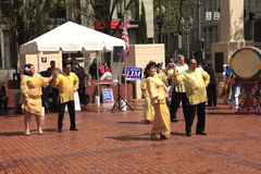 Political rally in Pioneer Square Portland OR. Royalty Free Stock Photos