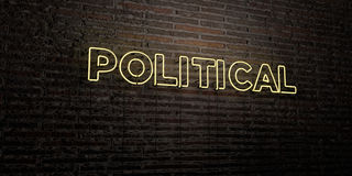 POLITICAL -Realistic Neon Sign on Brick Wall background - 3D rendered royalty free stock image Royalty Free Stock Photo