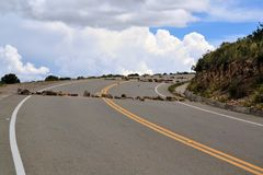 Political Road Block of rock and debris in Bolivia Royalty Free Stock Images