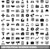 100 political science icons set, simple style. 100 political science icons set in simple style for any design vector illustration stock illustration
