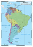 Political South America map Royalty Free Stock Photo