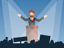 Political speaker concept background, cartoon style vector illustration