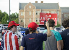 Political Supporters. At presidential debate in Saint Louis Missouri royalty free stock photo