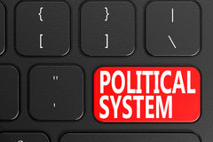 Political System on black keyboard. 3D rendering Stock Photography
