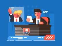 Political TV show. Leading discusses on debate with opponent. Vector illustration Stock Photos