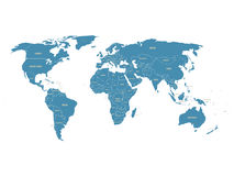 Political vector World Map with state name labels. Blue land with gray text on white Stock Photos