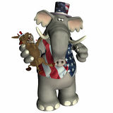 Political Voodoo - Republican. Republican Elephant with Donkey voodoo doll Royalty Free Stock Photos