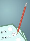 Political vote. Illustration with paper and pencil for political vote stock illustration