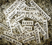 Political. Words on Newspaper confetti stock photography