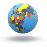 Political world globe on white background. 3d Royalty Free Stock Photography