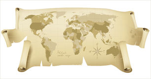 Political world map. Retro-styled political world map over white background Stock Photo