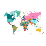 Political World Map. Detailed   of rainbow colors. Royalty Free Stock Images