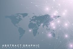 Political World Map with global technology networking concept. Digital data visualization. Lines plexus. Big Data. Background communication. Scientific vector Stock Photography