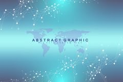 Political World Map with global technology networking concept. Digital data visualization. Lines plexus. Big Data stock illustration