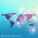 Political World Map with global technology networking concept. Digital data visualization. Scientific cybernetic Royalty Free Stock Photo
