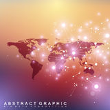 Political World Map with global technology networking concept. Digital data visualization. Scientific cybernetic Royalty Free Stock Images