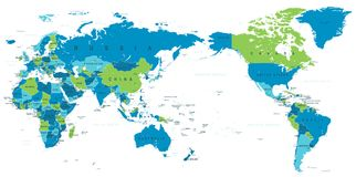 Political World Map Pacific Centered Stock Images