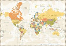 Political World Map retro color with lakes and rivers. Political World Map retro color with lakes and rivers and labeling. Vector illustration Royalty Free Stock Photos