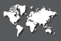 Political world map with shadow isolated on gray background, vector illustration Stock Photo