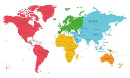 Political World Map vector illustration with different colors for each continent and isolated on white background. Editable and clearly labeled layers royalty free illustration