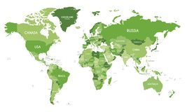 Political World Map vector illustration with different tones of green for each country. Editable and clearly labeled layers stock illustration