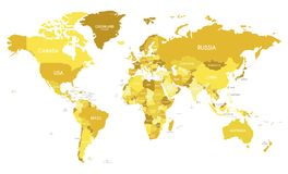 Political World Map vector illustration with different tones of yellow for each country. Editable and clearly labeled layers vector illustration