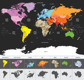 Political world map of the world colored by continents Stock Photography