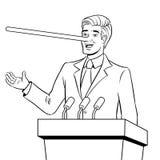 Politican con il naso lungo si trova vettore del libro da colorare Immagini Stock Libere da Diritti