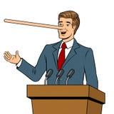 Politican met lange neus ligt pop-artvector Stock Foto's