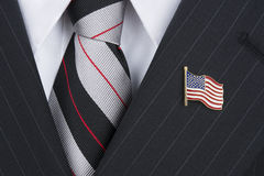 Politican wearing lapel pin Royalty Free Stock Image