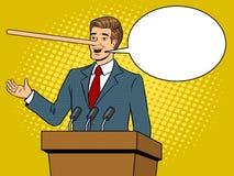 Politican z długim nosem kłama wystrzał sztuki wektor Fotografia Stock