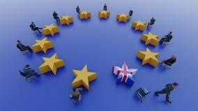 Politici della bandiera di Unione Europea sedersi e discutere circa Brexit nel Parlamento immagine stock