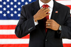 Politician: Adjusting Tie Before Meeting Royalty Free Stock Photos