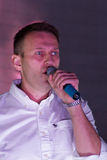 Politician Alexei Navalny speaking at the Stock Image