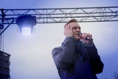 Politician Alexei Navalny speaks at an opposition rally