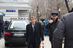 Politician Andrey Nechaev at the funeral of Boris Nemtsov Stock Photography