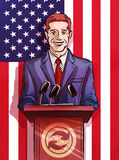 Politician behind the podium making the report. vector illustration Royalty Free Stock Photos