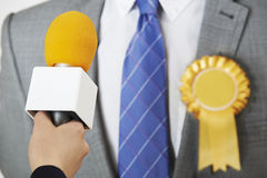 Politician Being Interviewed By Journalist During Election Stock Photography