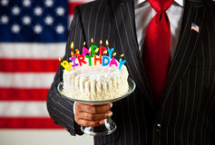 Politician: Cake with Birthday Candles stock photos
