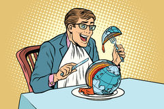 Politician eats the planet. Comic book illustration pop art retro color vector. Global business. Ecology and peace in the world Stock Photo