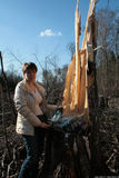 Politician Evgeniya Chirikova in the Khimki felled forest that she was protecting Royalty Free Stock Images